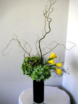 Ikebana featuring curly branch