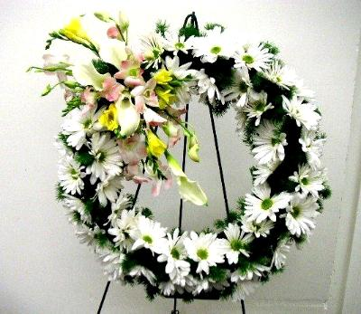 Easel Mounted Funeral Wreath