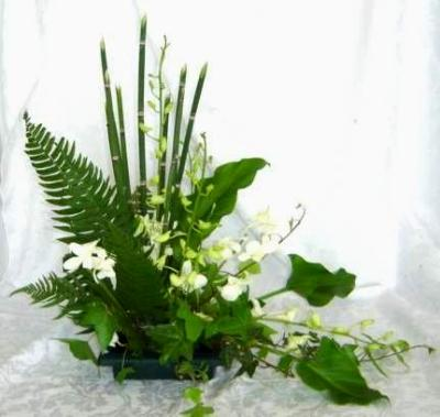 Ikebana arrangement featuring greenery