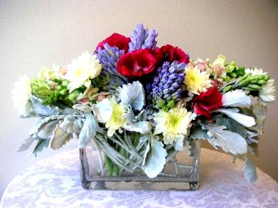 cubic glass container arrangement