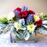 Cubic glass vase arrangement