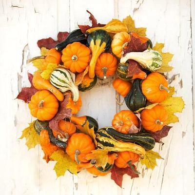 pumpkin wreath, photo credit: Better Homes and Gardens