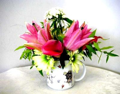 mug cup flower arrangement