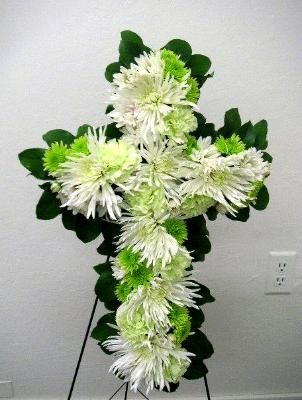 funeral cross arrangement